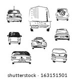 hand drawn car doodles isolated ... | Shutterstock .eps vector #163151501