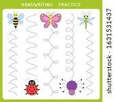 handwriting practice sheet....   Shutterstock .eps vector #1631531437