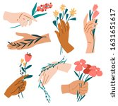 hands with bouquets set. leaves ... | Shutterstock .eps vector #1631651617