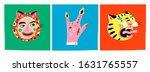 finger horns gesture  face in... | Shutterstock .eps vector #1631765557