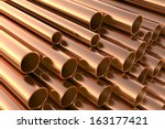 copper pipes on warehouse. 3d... | Shutterstock . vector #163177421