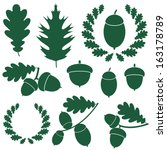 Oak And Acorns. Icon. Vector...