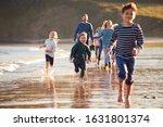 Children Run Ahead As  Multi...