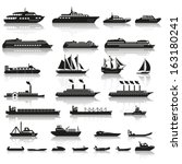 set of ships and boats | Shutterstock .eps vector #163180241