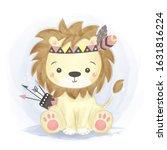cute animals  watercolor... | Shutterstock .eps vector #1631816224