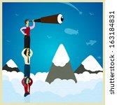 human teamwork   climb the... | Shutterstock .eps vector #163184831
