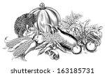 a vintage retro woodcut print...   Shutterstock . vector #163185731
