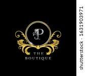p  letter golden  circle luxury ... | Shutterstock .eps vector #1631903971