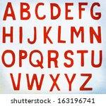 red paper alphabet letters | Shutterstock .eps vector #163196741