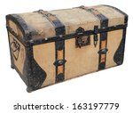 Old Wooden Trunk With Metal...
