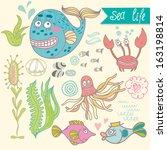 cute vector set with underwater ... | Shutterstock .eps vector #163198814