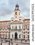 Small photo of Madrid, Spain - January 29, 2020. Principal facade of The Real Casa de Correos Palace (Royal Post Office) Puerta del Sol square, Madrid. Spain.