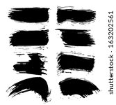 vector set of grunge brush... | Shutterstock .eps vector #163202561
