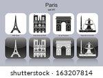 landmarks of paris. set of... | Shutterstock .eps vector #163207814