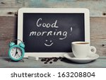 cup of coffee with blackboard... | Shutterstock . vector #163208804
