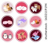 cute animal couples sticker set ... | Shutterstock .eps vector #1632119194