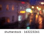 Window Rain Blurred City Lights