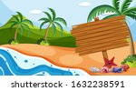 wooden sign on the beach... | Shutterstock .eps vector #1632238591