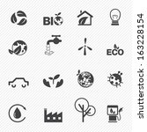 eco icons set vector | Shutterstock .eps vector #163228154