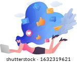 a young woman uses alaptop to... | Shutterstock .eps vector #1632319621