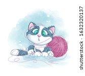 Little Cute Kitten Tangled In A ...