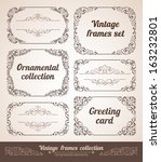 set of ornate frames with... | Shutterstock .eps vector #163232801