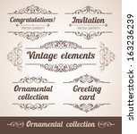 set of ornate frames with... | Shutterstock .eps vector #163236239