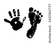 imprint baby palm and foot....   Shutterstock .eps vector #1632362737