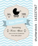 baby shower invitation card... | Shutterstock .eps vector #163237367