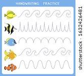handwriting practice sheet....   Shutterstock .eps vector #1632426481