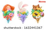 funny characters with bouquet... | Shutterstock .eps vector #1632441367