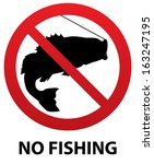 No Fishing Sign With Fish...