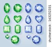 set of realistic jewels   green ... | Shutterstock .eps vector #163252331