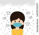 women in masks protection dust... | Shutterstock .eps vector #1632533107