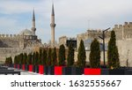 view on courtyard of Kayseri Castle, old fortress with grey defensive walls built in Byzantine and Islamic architecture style, touristic sight in Kayseri city, Central Anatolia region, Turkey, Asia