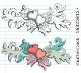 hand drawn decorative hearts... | Shutterstock .eps vector #163258127