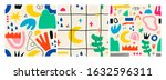 various hand drawn shapes and... | Shutterstock .eps vector #1632596311
