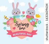 hello spring greeting card.... | Shutterstock .eps vector #1632609634