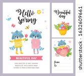 spring day card set. greeting... | Shutterstock .eps vector #1632609661