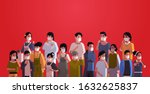 mix race people crowd in... | Shutterstock .eps vector #1632625837