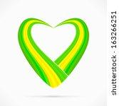 Abstract green yellow green heart ribbon flag