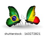 two butterflies with flags on... | Shutterstock . vector #163272821