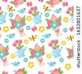 spring seamless pattern. bright ... | Shutterstock .eps vector #1632801637