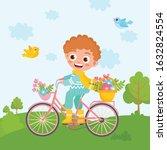 spring greeting card. little... | Shutterstock .eps vector #1632824554
