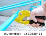 pvc pipe cutting. water pipe...   Shutterstock . vector #1632838411