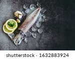 Small photo of Raw squid on ice with salad spices lemon garlic on the dark plate background / fresh squids octopus or cuttlefish for cooked food at restaurant or seafood market