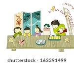 chinese kids having tea | Shutterstock . vector #163291499