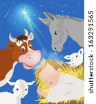 nativity scene showing birth of ... | Shutterstock .eps vector #163291565
