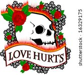 love hurts design with roses... | Shutterstock . vector #16329175