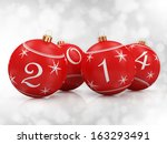 Red Christmas Balls 2014 on beautiful white background - stock photo